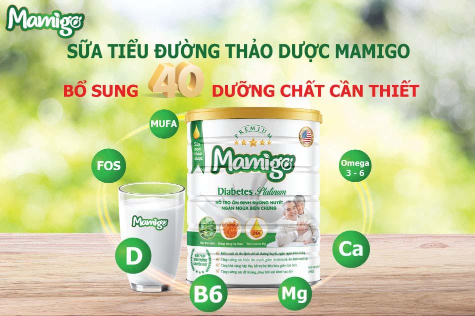 Sữa tiểu dường thảo dược Mamigo chứa 40 chất dinh dưỡng